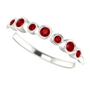 Platinum Created Chatham Ruby 7-Stone 3.25mm Ring