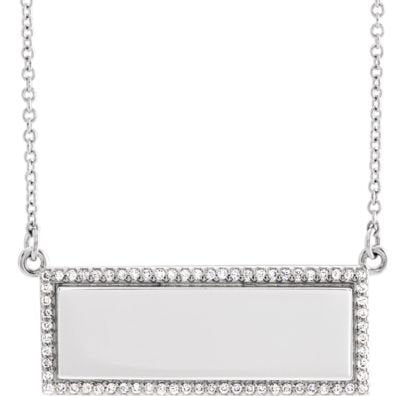 "Diamond Bar Necklace, Rhodium-Plated 14k White Gold, 18"" ( 0.16 Ctw, G-H Color, I1 Clarity)"