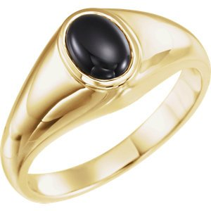 Men's Oval Onyx Cabochon Belcher Ring, 14k Yellow Gold