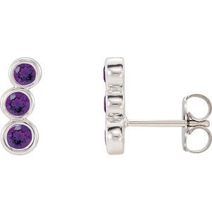 Platinum Amethyst Three-Stone Ear Climbers