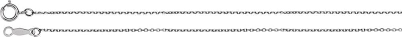 1 mm Rhodium-Plated 14k White Gold Diamond Cut Cable Chain, 18""