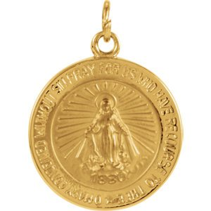 14k Yellow Gold Miraculous Medal (14.75 MM)