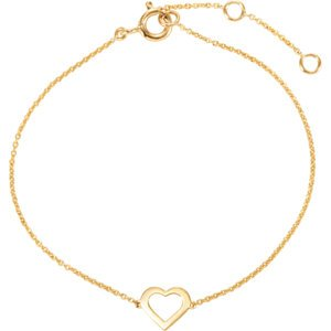 Heart Design Bracelet, 14k Yellow Gold, 7""