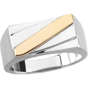 Sterling Silver with 14k Yellow Gold Two Tone Men's Band