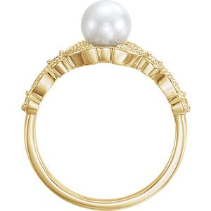 White Freshwater Cultured Pearl, Diamond Leaf Ring, 14k Yellow Gold (6-6.5mm)( .125 Ctw, Color G-H, Clarity I1) Size 8