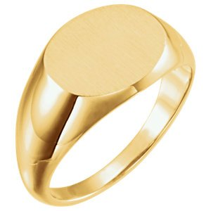 Men's Brushed Oval Signet Ring, 14k Yellow Gold (12x14 mm)