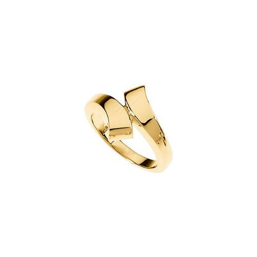 15mm 10k Yellow Gold Contemporary Bypass Band, Size 6 to 7
