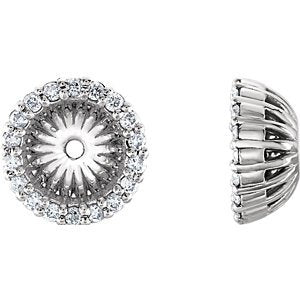Platinum Diamond Cluster Earring Jackets (6.1 MM) (0.2 Ctw, G-H Color, SI2-SI3 Clarity)