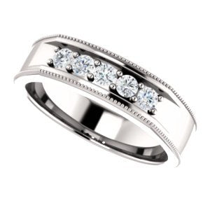Men's Diamond Beaded Ring, Rhodium-Plated 14k White Gold (.33 Ctw, Color G-H, SI2-SI3) Size 13
