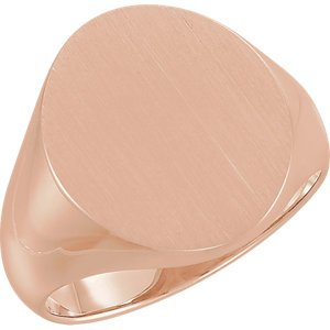 Men's 10k Rose Gold Brushed Hollow Signet Ring (18x16mm)