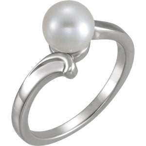 Platinum White Freshwater Cultured Pearl Ring (7.00-7.50 mm)