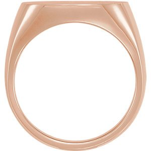 Men's Open Back Brushed Signet Semi-Polished 14k Rose Gold Ring (18mm) Size 10