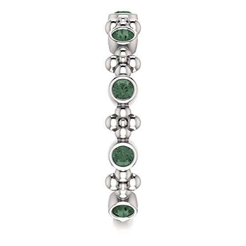 Genuine Alexandrite Beaded Ring, Rhodium-Plated 14k White Gold