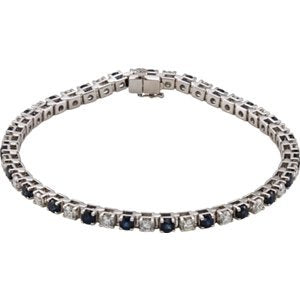 "Blue Sapphire and Diamond Bracelet, 14k White Gold, 7.25"" (2.38 Cttw, GH Color, I1 Clarity)"