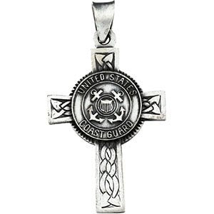 US Coast Guard Halo Cross Sterling Silver Pendant Necklace, 24""