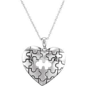 Rhodium Plate Sterling Silver Piece of My Heart Pendant Necklace 18""