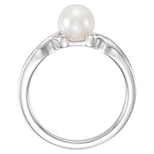 Platinum Freshwater Cultured Pearl Ichthys Ring (6.5-7.00mm) Size 7.75