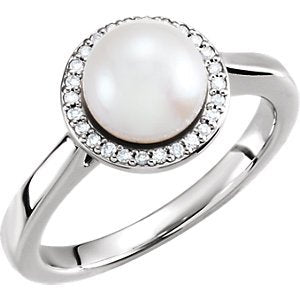 White Freshwater Cultured Pearl and Diamond Halo Ring, Rhodium-Plated 14k White Gold (7.5-8mm) (.07Ctw, G-H Color, I1 Clarity)