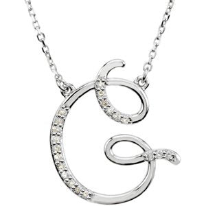 "Sterling Silver Alphabet Initial Letter G Diamond Necklace, 17"" (1/10Ct, GH Color, I1)"