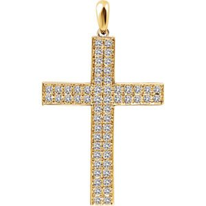 Diamond Western Cross Pendant, Rhodium-Plated 14k Yellow Gold (.5 Ctw, H+ Color, I1 Clarity)