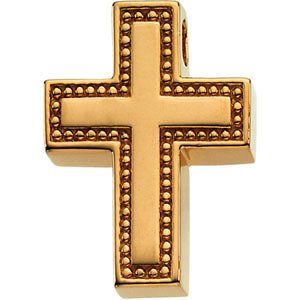 Coticed Cross 18k Yellow Gold Pendant (21X16.25MM)