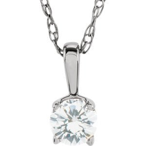 "Children's Diamond Birthstone 14k White Gold Pendant Necklace, 14"" (1/10 Cttw)"