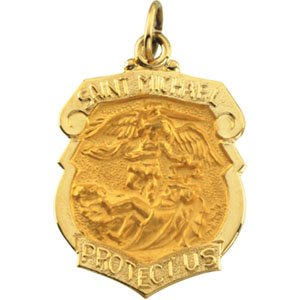 14kt Yellow Gold St. Michael, the Archangel Medal Shield Pendant (27mm By 21mm)