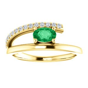 Emerald and Diamond Bypass Ring, 14k Yellow Gold (.125 Ctw, G-H Color, I1 Clarity)