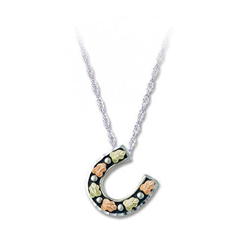 Antique Tilted Horseshoe Pendant Necklace, Sterling Silver, 12k Green and Rose Gold Black Hills Gold Motif, 18''