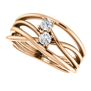 Diamond Two-Stone Bypass Ring, 14k Rose Gold, Size 7 (.2 Ctw, G-H Color, I1 Clarity)