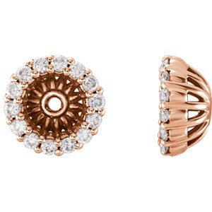 Diamond Cluster Earring Jackets, 14k Rose Gold (4.6 MM) (0.16 Ctw, G-H Color, I2 Clarity)