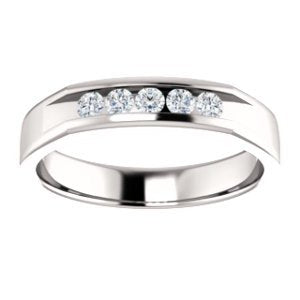 Men's 5-Stone Diamond Wedding Band, Rhodium-Plated 14k White Gold (.75 Ctw, Color G-H, SI2-SI3 Clarity) Size 10