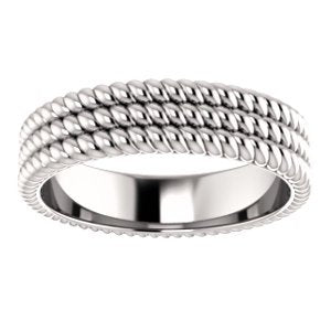 Grooved Rope Pattern 5.25mm Comfort-Fit Band, Rhodium-Plated 14k White Gold
