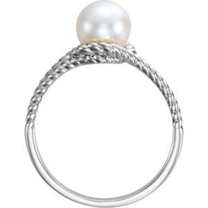 White Freshwater Cultured Pearl Rope Ring, Sterling Silver (7-7.5 mm)