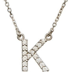 "14k White Gold Diamond Alphabet Letter K Necklace (1/8 Cttw, GH Color, I1 Clarity), 16.25"" to 19.25"""