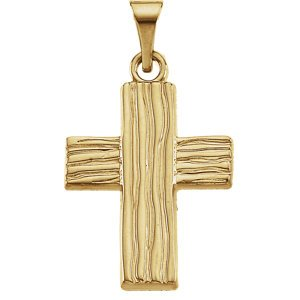 Rugged Cross Brushed 10K Yellow Gold Pendant (18X14.5 MM)