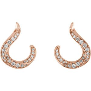 Diamond Crescent Earrings, 14k Rose Gold (.375 Ctw, GH Color, I1 Clarity)