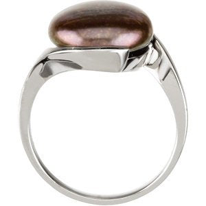 Freshwater Cultured Chocolate Coin Pearl Sterling Silver Ring, 13-14MM, Size 10