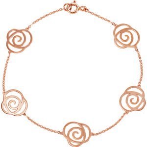Cut-Out Flower Station Bracelet, 14k Rose Gold, 7""