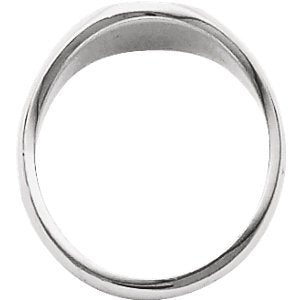 Men's Closed Back Brushed Signet Ring, 18k White Gold (13.25x10.75 mm) Size 10