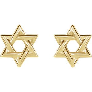 Star of David 14k Yellow Gold Stud Earrings (9.50X9.50 MM)