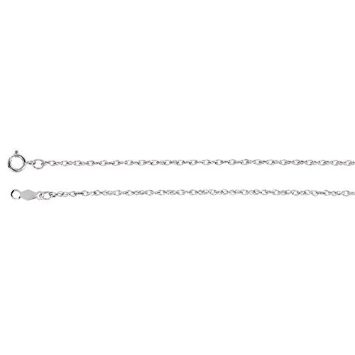 14k White Gold 1.25mm Rope Chain, 16""