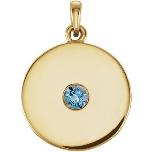Round Aquamarine Disc Pendant, 14k Yellow Gold
