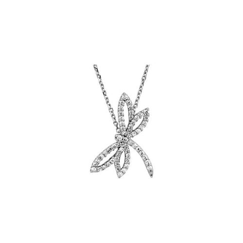 14k White Gold .33 Cttw. Diamond Dragonfly Necklace