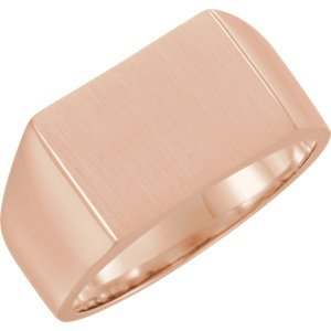 Men's 10k Rose Gold Brushed Rectangle Signet Ring (15x11mm)