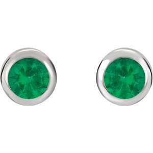 Simulated May Birthstone CZ Solitaire Stud Earrings, Rhodium-Plated Sterling Silver