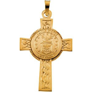 U.S. Air Force Halo Cross 14k Yellow Gold Pendant