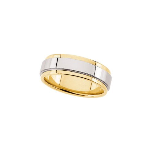 7.5 mm 14k Yellow and White Gold Two-Tone Grooved Edge Flat Comfort Fit Band, Size 5.5