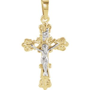 Two-Tone Floral Crucifix 14k Yellow and White Gold Pendant(35X24.5MM)