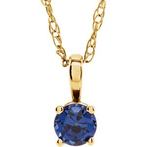 Children's Chatham Created Blue Sapphire 'September' Birthstone 14k Yellow Gold Pendant Necklace, 14""